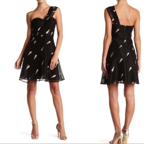 adc1c24aa594 Lumier one shoulder dress netting stitching large